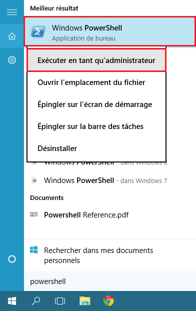 Powershell Windows 10 réparation installer