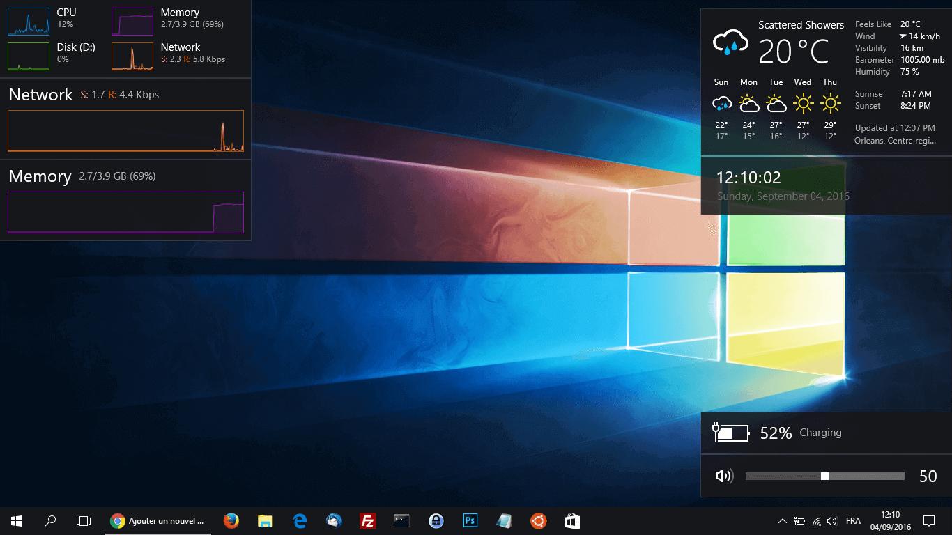Win10 widgets apporte les gadgets sur windows 10 justgeek for Bureau windows 10