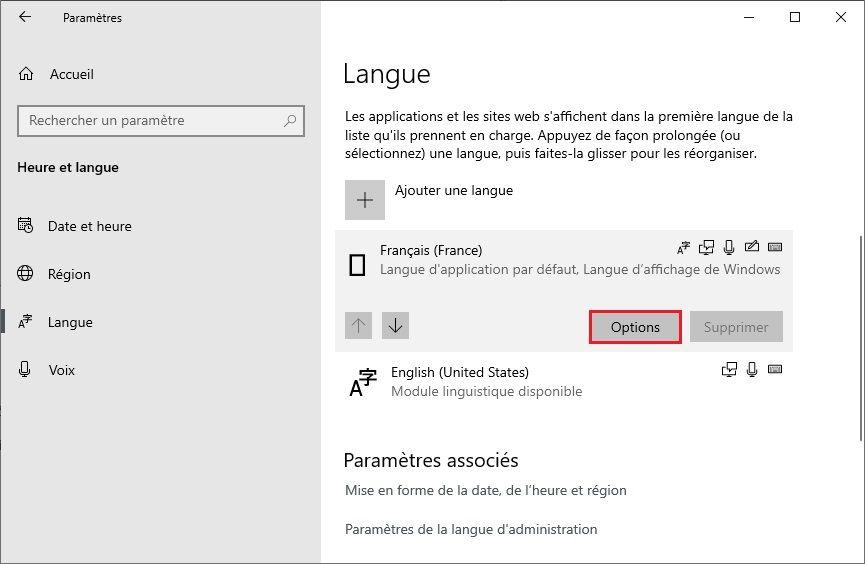 Options des langues Windows 10