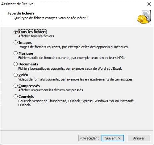 Récupération de fichiers avec le logiciel gratuit Recuva