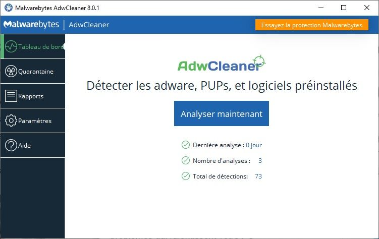 Élimine les logiciels malveillants de type adwares avec AdwCleaner