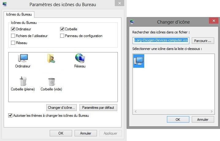 Changer les icônes du Bureau de Windows