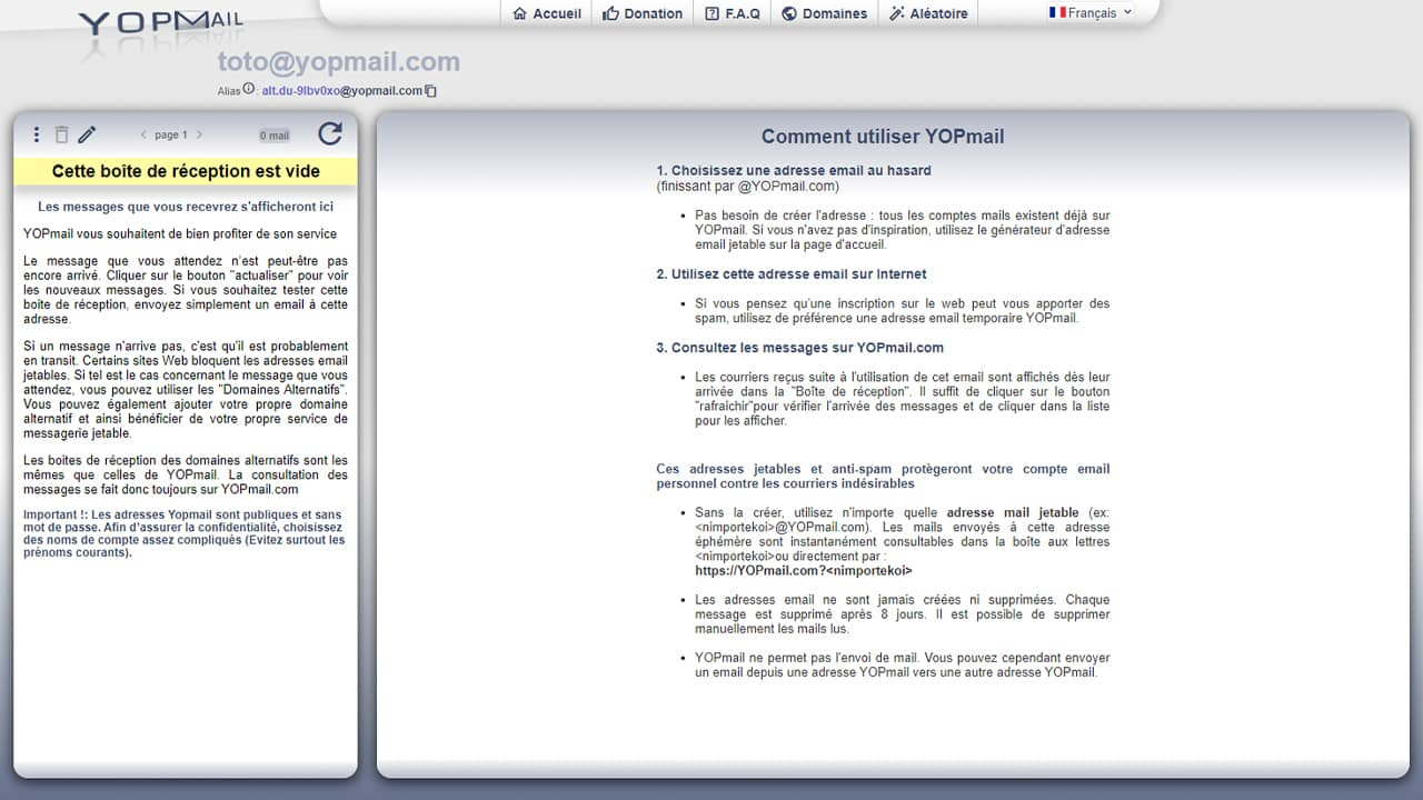 Adresse email temporaire (ou jetable) YOPMail