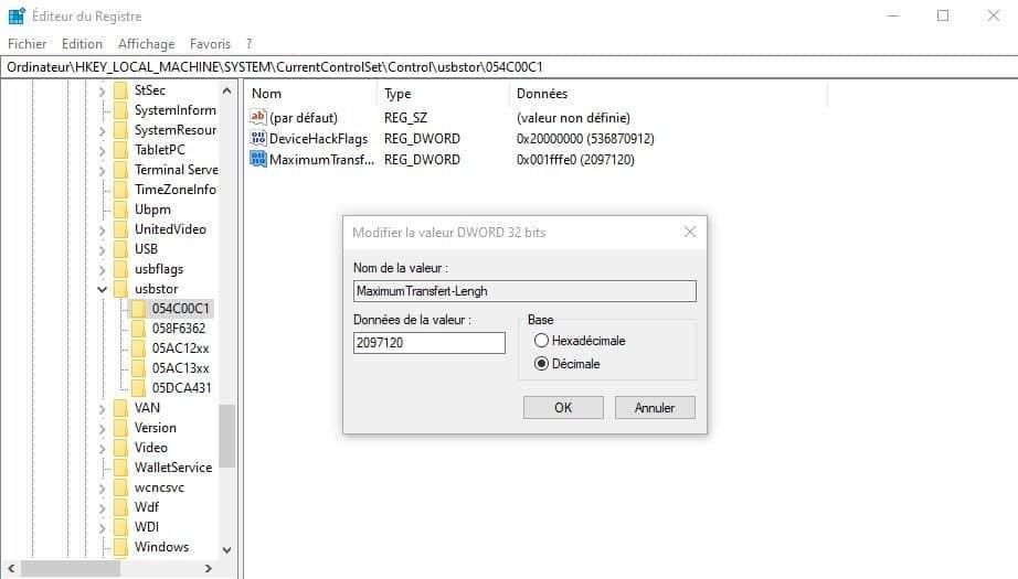 Accélérer transfert USB
