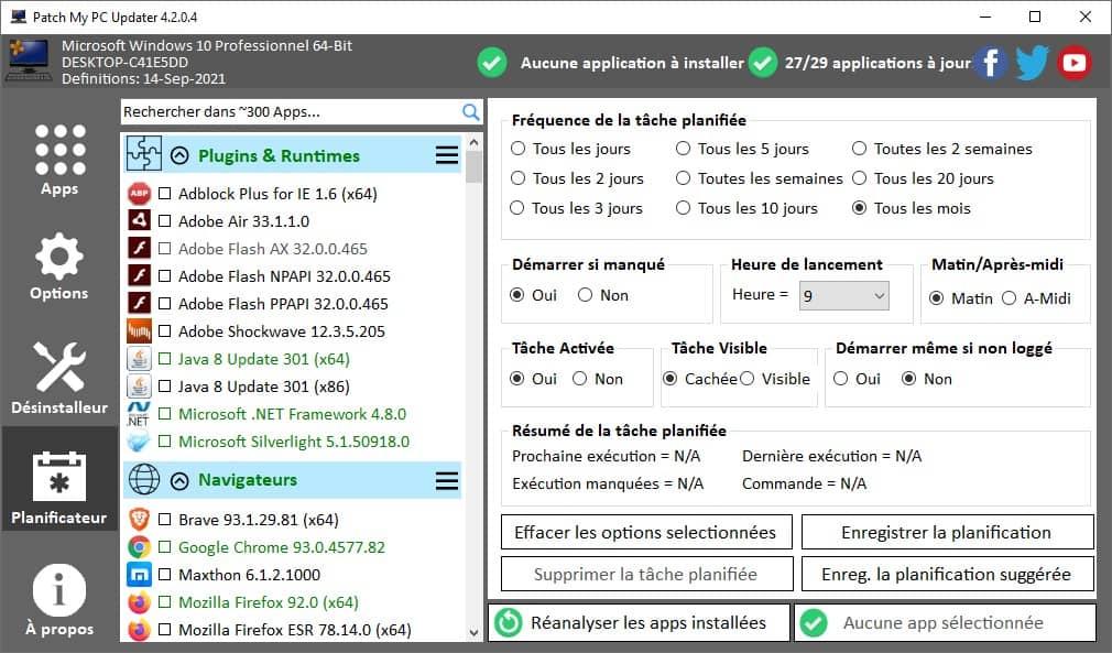 Planificateur de mise à jour des logiciels Patch My PC