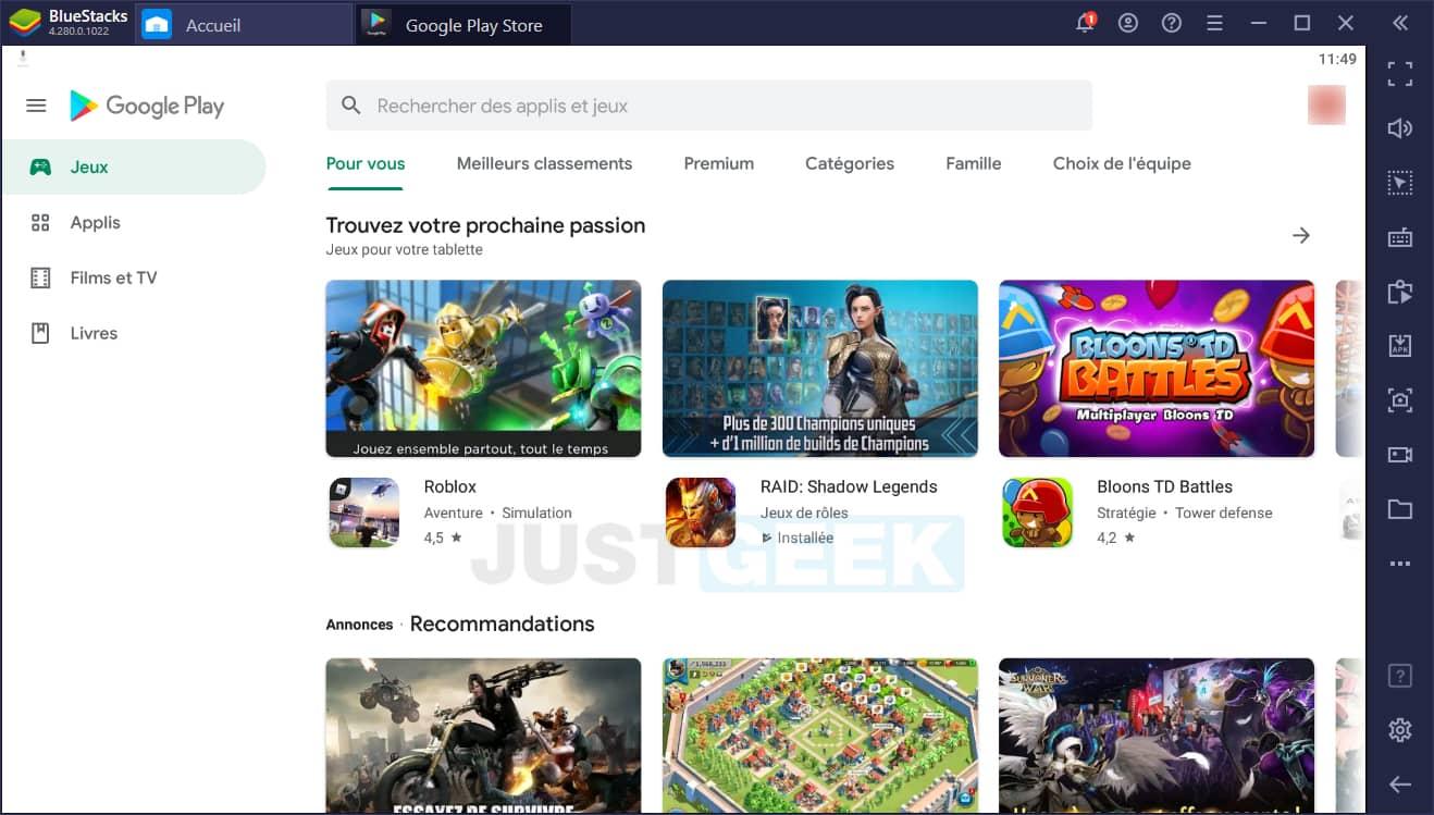 BlueStacks : Google Play Store