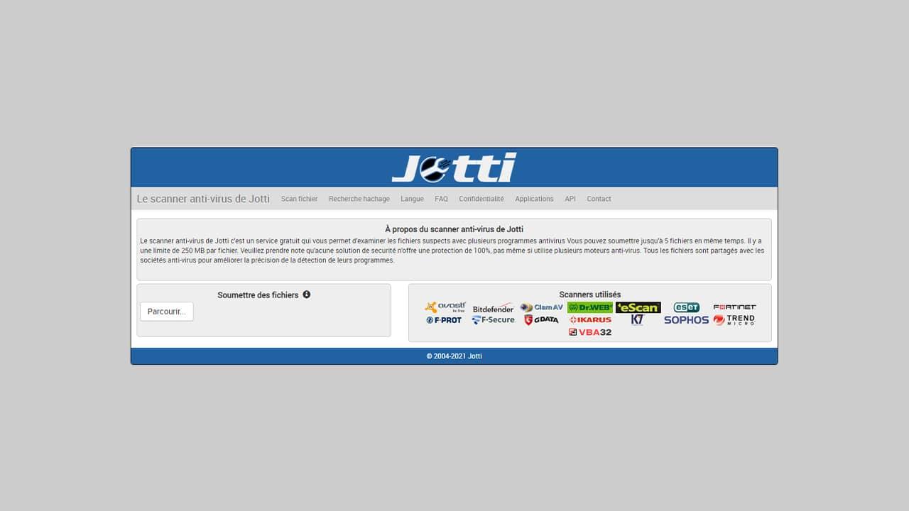 Jotti : Scanner antivirus en ligne gratuit