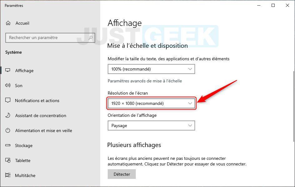 Modifier la résolution de l'écran sous Windows 10
