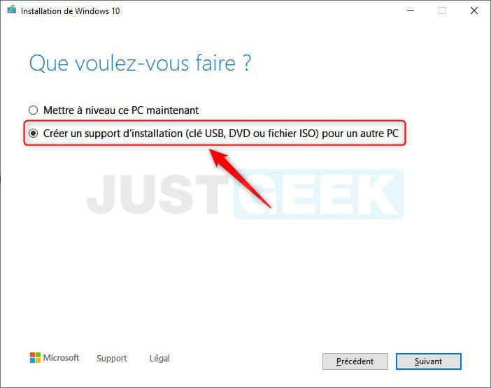 Création du support d'installation de Windows 10