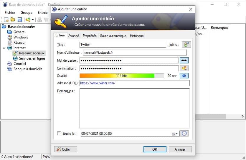 Ajouter une entrée dans le gestionnaire de mots de passe KeePass