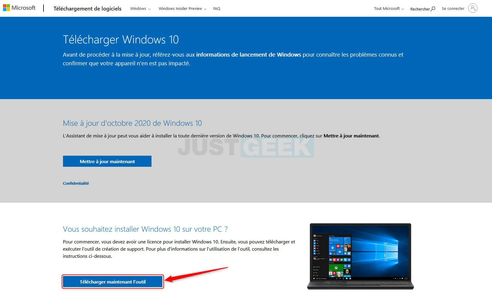 Télécharger l'outil de création de support Windows 10
