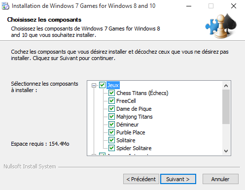 Fin de l'installation des jeux Windows 7 sur Windows 10