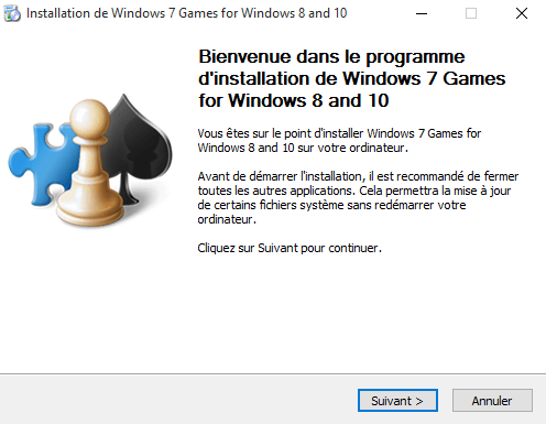 Installation des jeux Windows 7