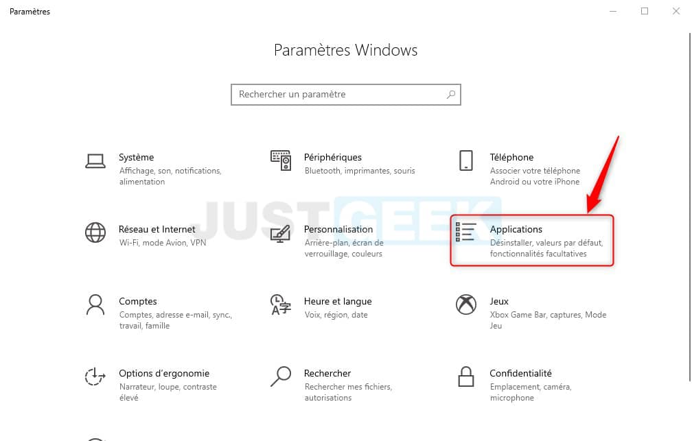 Applications paramètres Windows 10