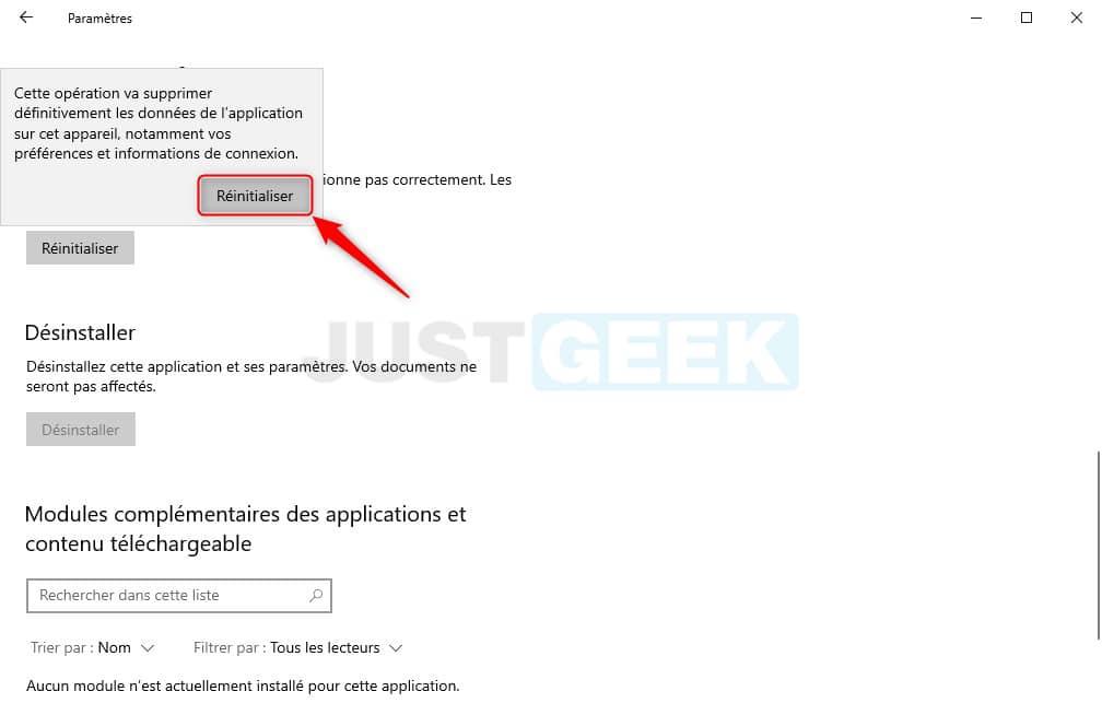 Confirmer la réinitialisation du Microsoft Store