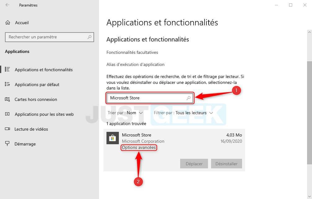 Options avancées Microsoft Store