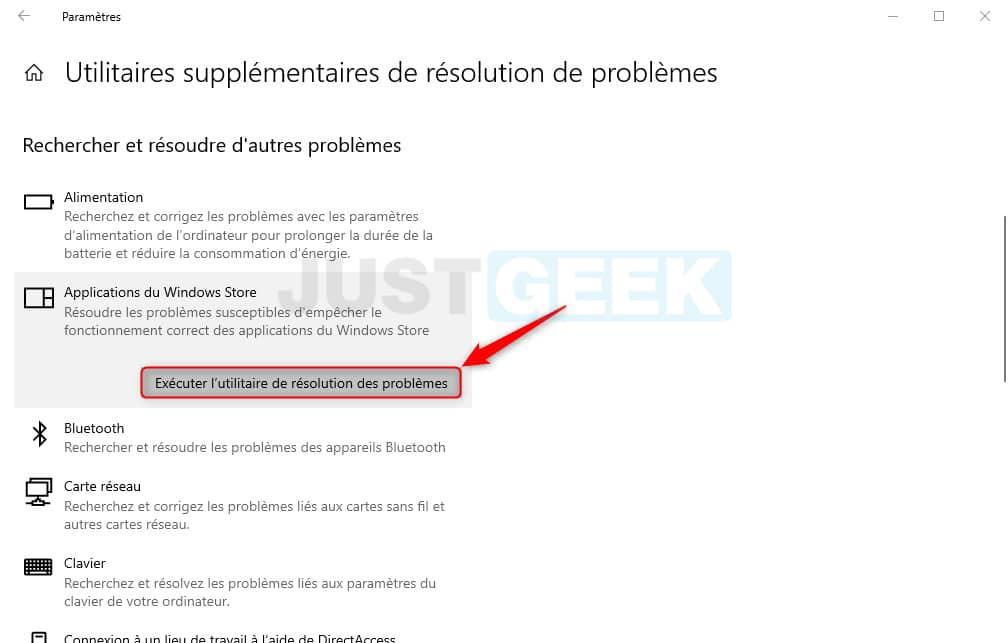 Utilitaire de résolution des problèmes Microsoft Store