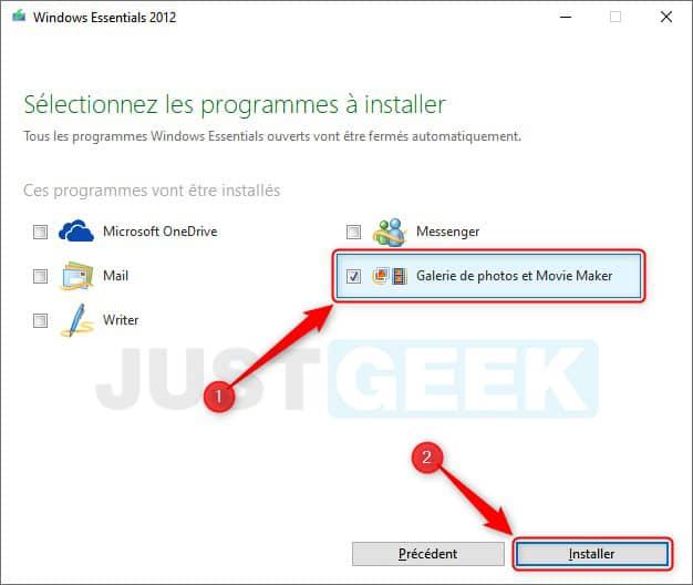 Installer Movie Maker sur Windows 10