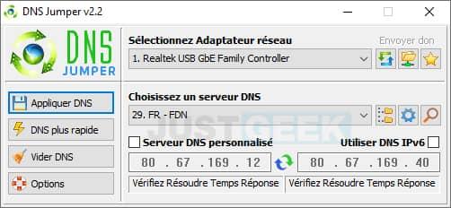 Interface du logiciel gratuit DNS Jumper