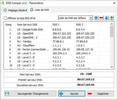 Paramètres de la liste DNS dans DNS Jumper