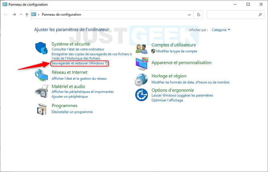 Sauvegarder et restaurer (Windows 7)