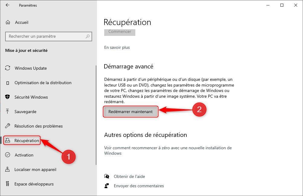 Démarrage avancé Windows 10