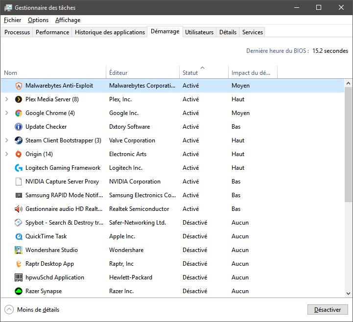 Accélérer Windows 10 en désactivant les programmes au démarrage