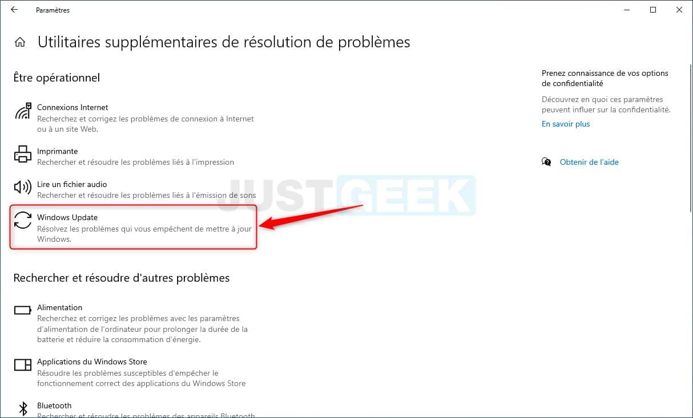 Utilitaire de résolution des problèmes Windows Update