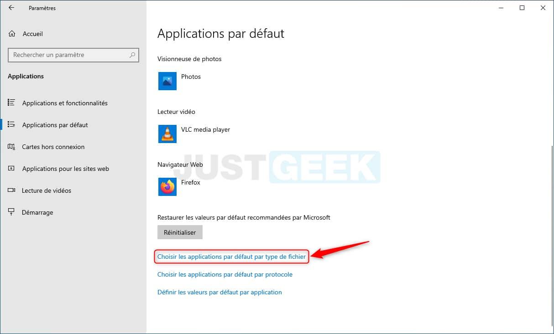 Choisir les applications par défaut par type de fichier dans Windows 10