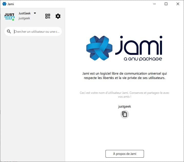 Interface de Jami
