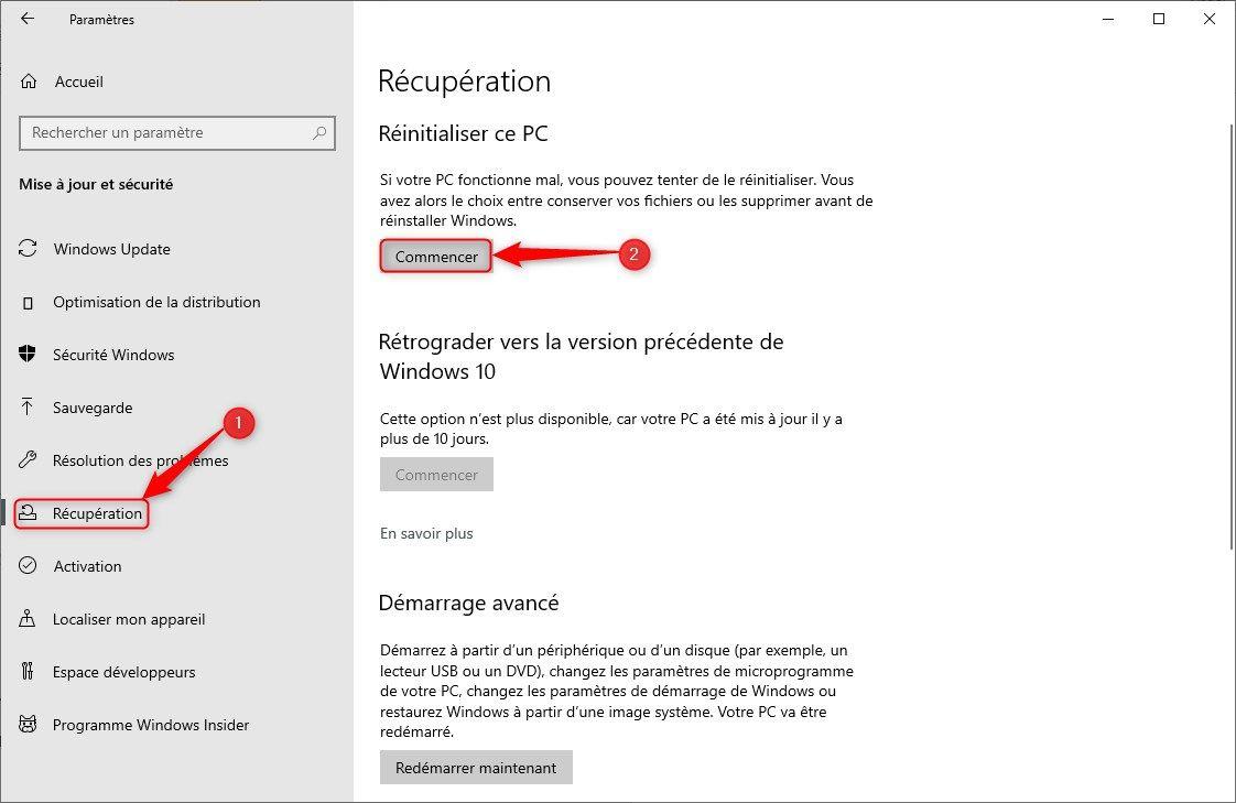 """Réparer Windows 10 avec l'outil """"Réinitialiser ce PC"""""""