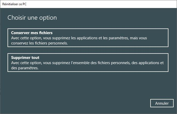Réinitialiser ce PC Windows 10