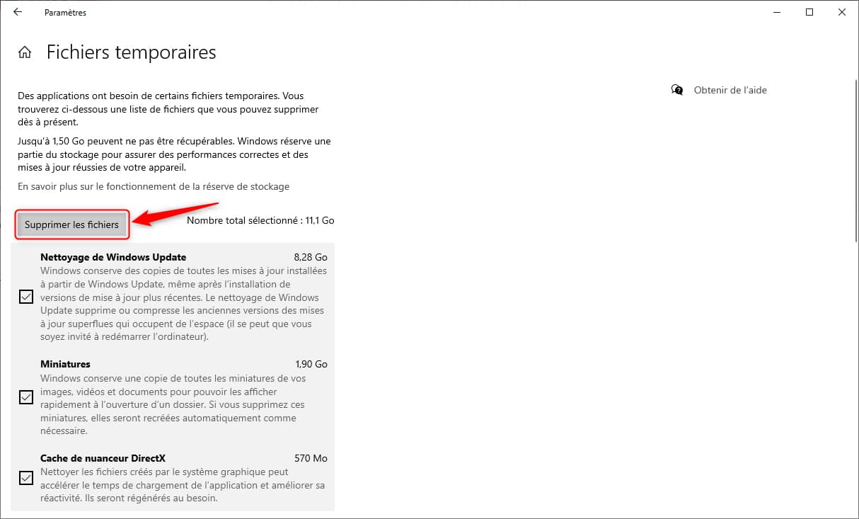Supprimer les fichiers temporaires sous Windows 10