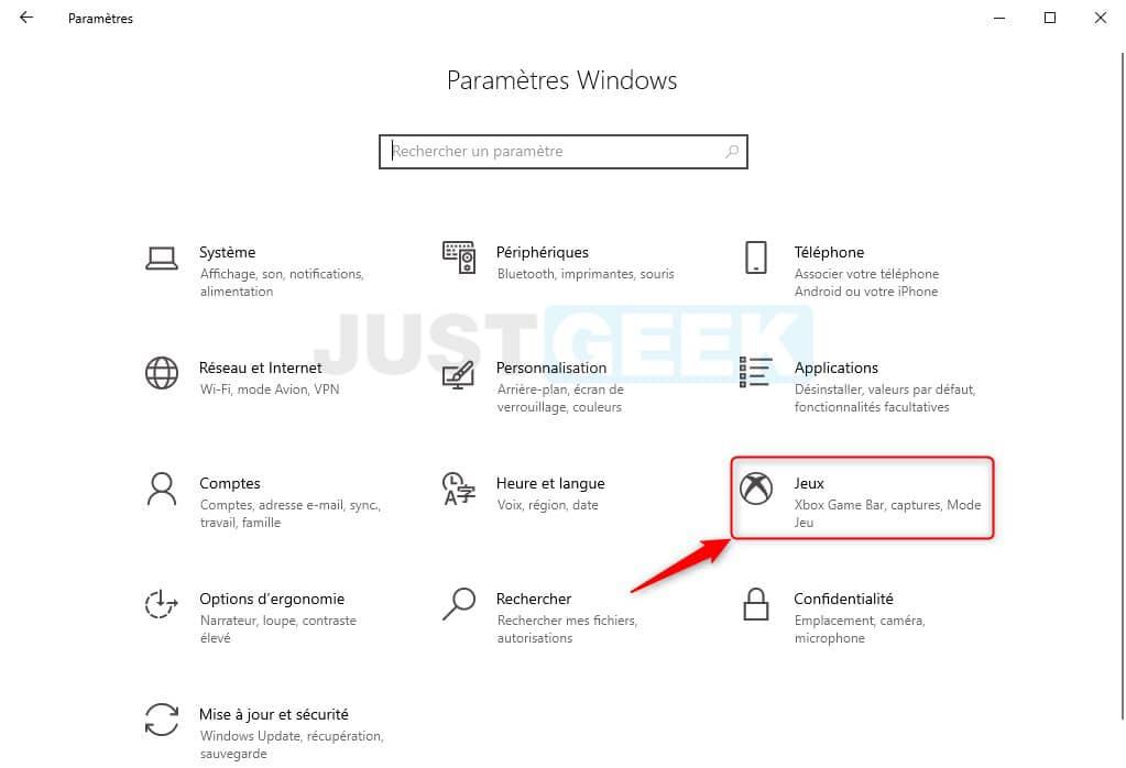 Paramètres jeux Windows 10