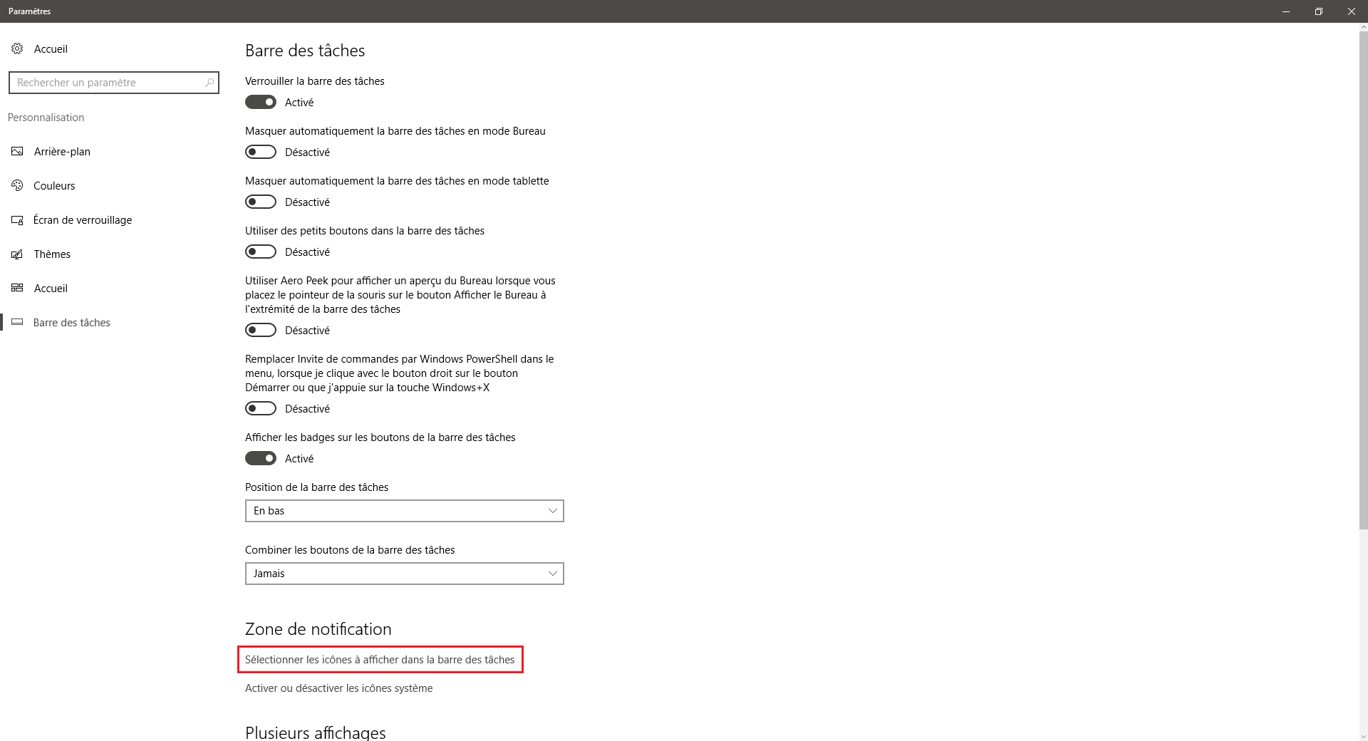 Windows 10 : Choisir les icônes à afficher dans la barre des tâches