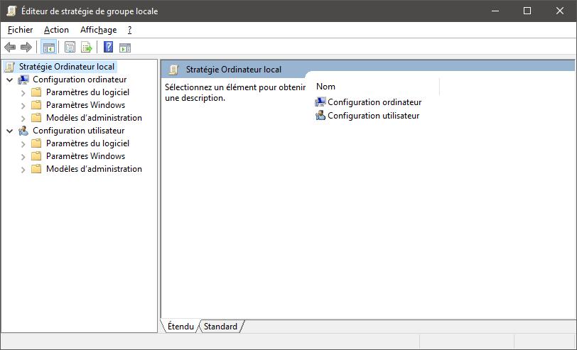 Éditeur de stratégie de groupe locale sur Windows 10 Home