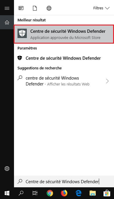 Centre de sécurité Windows Defender dans le menu Démarrer de Windows 10