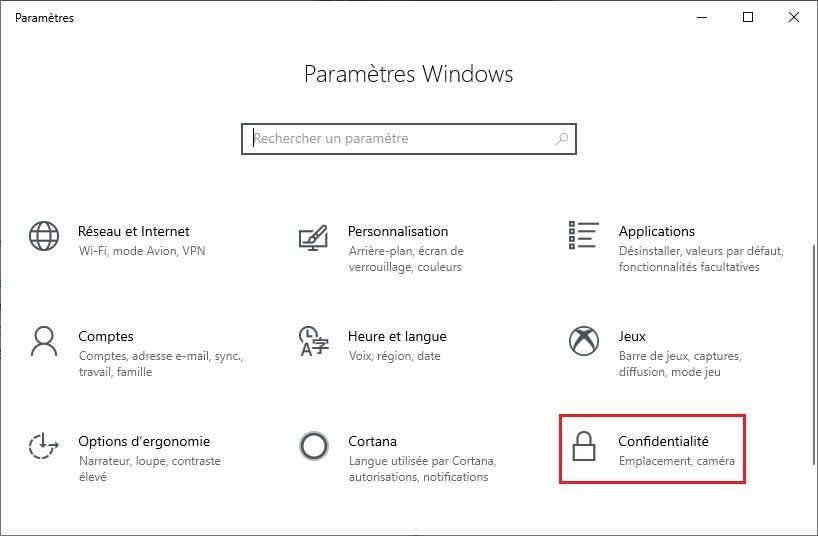 Confidentialité Windows 10