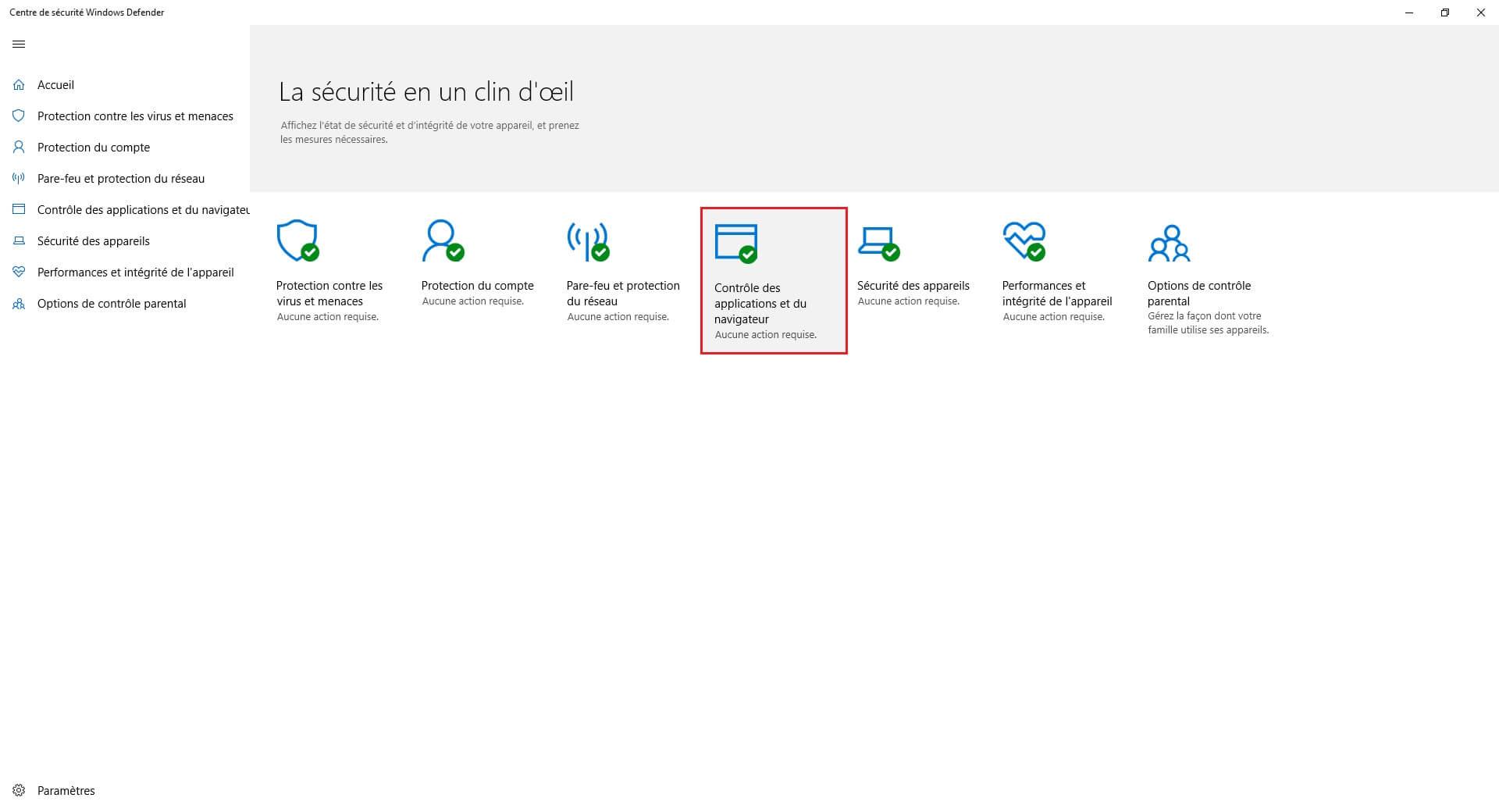 Contrôle des applications et du navigateur Windows 10