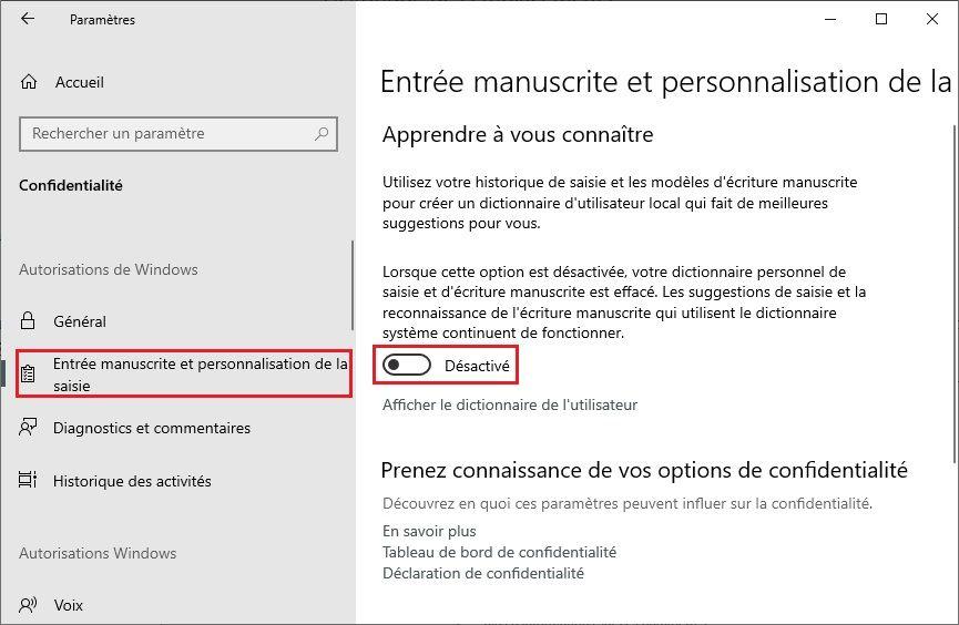 """Désactiver l'option """"Apprendre à vous connaître"""" Windows 10"""