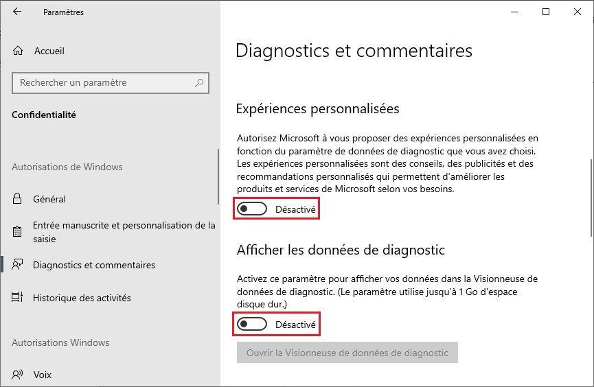 Désactiver Experiences personnalisées Windows 10