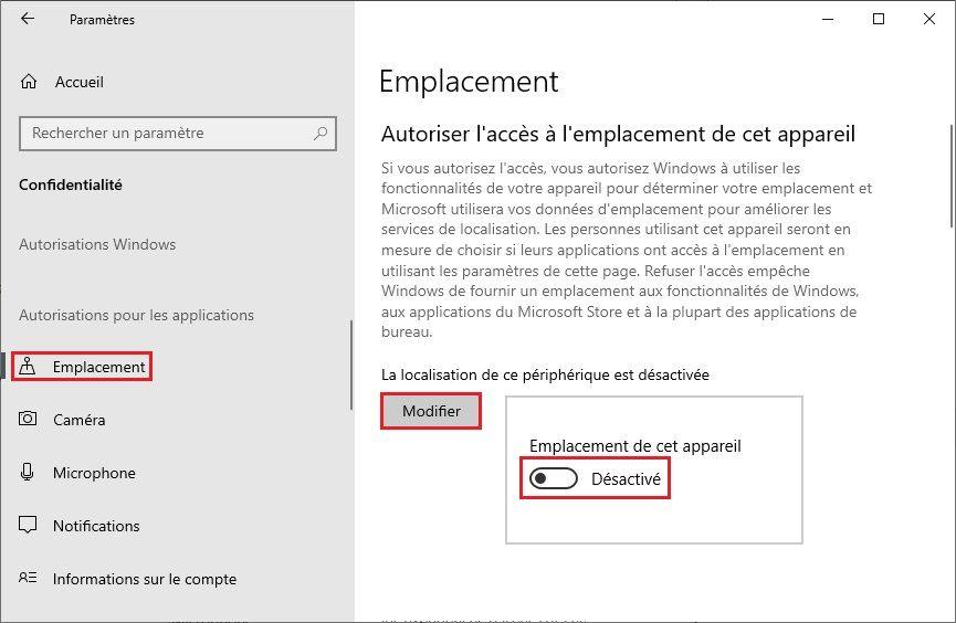 Désactiver la localisation Windows 10