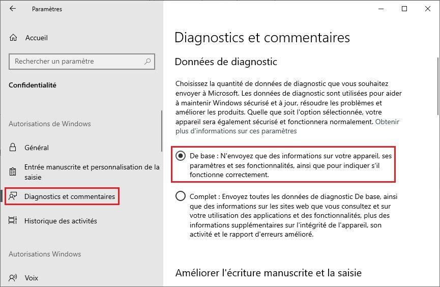 Diagnostics et commentaires Windows 10