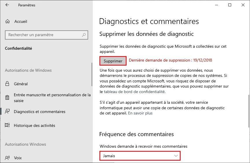 Fréquence des commentaires Windows 10