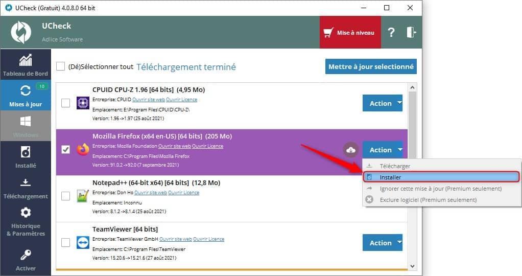 Installer la mise à jour d'un logiciel avec UCheck