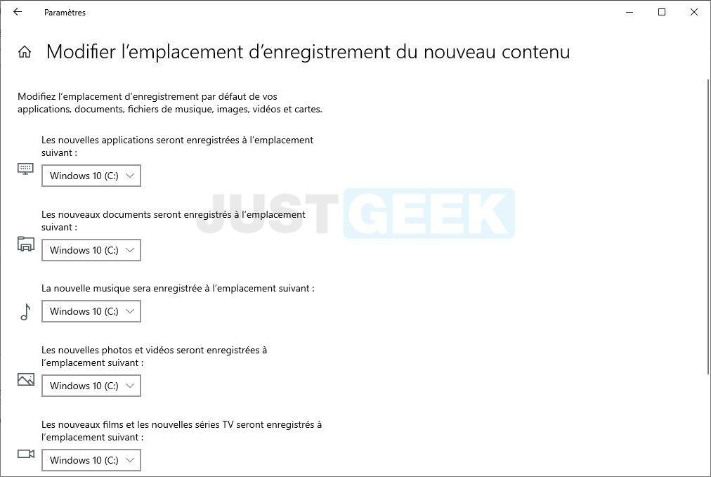 Windows 10 : modifier l'emplacement d'enregistrement par défaut