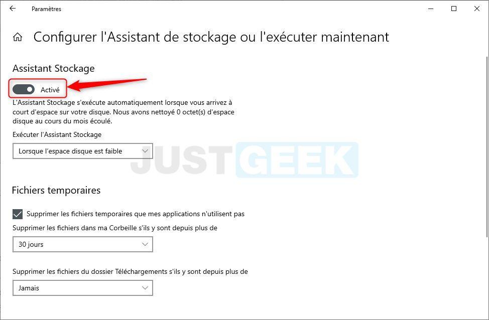Windows 10 : activer l'Assistant de stockage