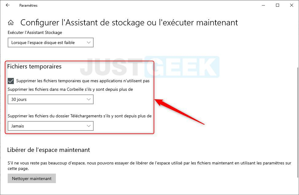 Windows 10 : configurer l'Assistant de stockage