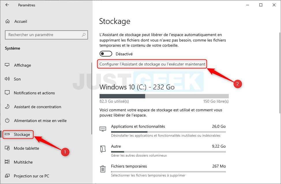 Windows 10 : configurer l'Assistant de stockage ou l'exécuter maintenant