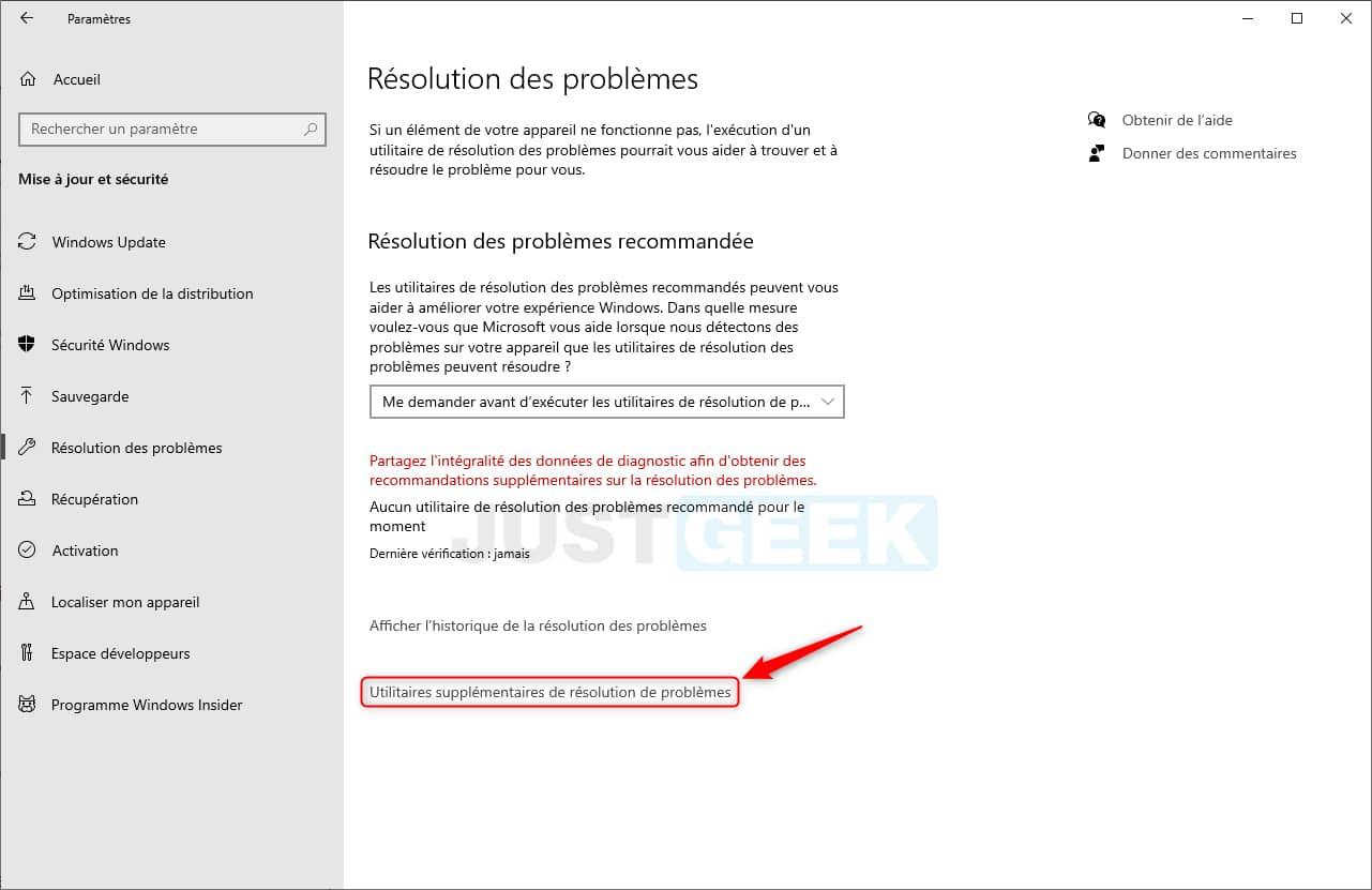 Utilitaires supplémentaires de résolution de problèmes de Windows 10